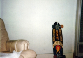 "Bill's hand painted deck ""Wonder who my favorite band is? "" Late 70's"
